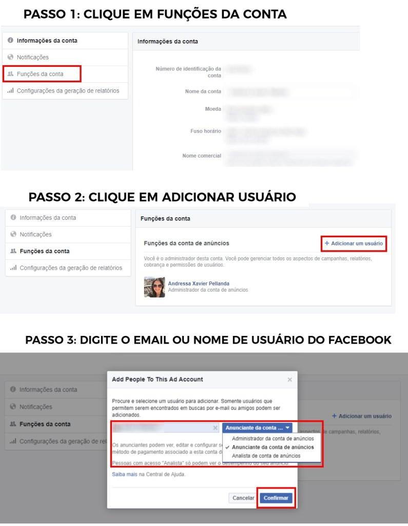 conceder acesso a conta de anúncios no Facebook